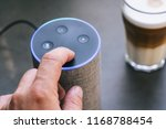 smart speaker and male hand | Shutterstock . vector #1168788454