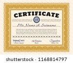 orange certificate template.... | Shutterstock .eps vector #1168814797