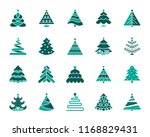 christmas tree silhouette icons ... | Shutterstock .eps vector #1168829431