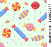 cute candy and lolipop seamless ... | Shutterstock .eps vector #1168832677
