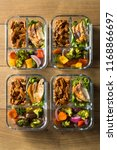 homemade keto chicken meal prep ... | Shutterstock . vector #1168866697