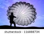 parashutist a parachute in the... | Shutterstock . vector #116888734