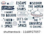 set of hand drawn space quotes  ...   Shutterstock .eps vector #1168927057