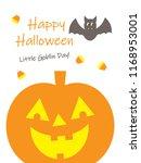 happy halloween greeting.. | Shutterstock . vector #1168953001