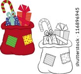 bag with gifts. coloring book.... | Shutterstock .eps vector #116896945