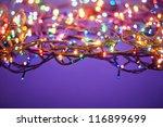 Christmas Lights On Dark Blue...