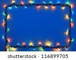 Christmas Lights Frame On Dark...