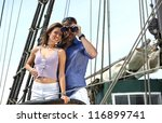 young couple on board the yacht ... | Shutterstock . vector #116899741