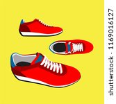 red sneakers on yellow... | Shutterstock .eps vector #1169016127