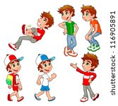 boy in different poses and... | Shutterstock .eps vector #116905891