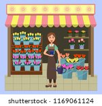 flower showcases and florists...   Shutterstock .eps vector #1169061124