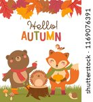 hello autumn  typography... | Shutterstock .eps vector #1169076391