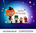 happy children halloween party... | Shutterstock .eps vector #1169101054