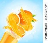 orange juice splash with glass...   Shutterstock .eps vector #1169124724