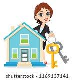 wonderful smart girl holding a... | Shutterstock .eps vector #1169137141
