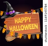 vector halloween holiday poster ... | Shutterstock .eps vector #1169145784