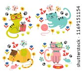 Stock vector set of isolated cute cats in flowers vector illustration eps 1169151154