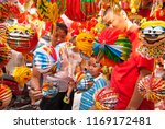 Small photo of Hanoi, Vietnam - 2008: Children toys for sale on Hang Ma street in mid-autumn festival