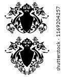 wolf heads and heraldic shields ... | Shutterstock .eps vector #1169204257
