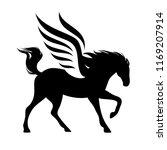 running winged horse silhouette ... | Shutterstock .eps vector #1169207914