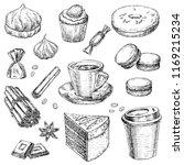 vector illustration coffee set... | Shutterstock .eps vector #1169215234