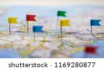 many locations marked with pins ... | Shutterstock . vector #1169280877