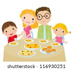 family dinner | Shutterstock .eps vector #116930251