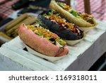 close up on three type of vegan ... | Shutterstock . vector #1169318011