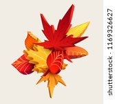 composition of 3d autumn leaves | Shutterstock .eps vector #1169326627