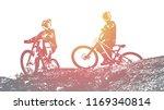 Silhouette Of A Biker. Downhil...
