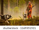 hunter and hunting dogs chasing ... | Shutterstock . vector #1169351521