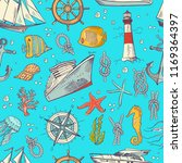 colored sketched sea elements... | Shutterstock . vector #1169364397