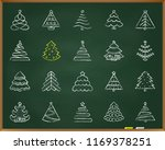 christmas tree chalk icons set. ... | Shutterstock .eps vector #1169378251
