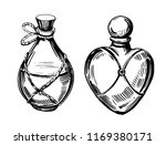 bottles with potions. poison... | Shutterstock .eps vector #1169380171