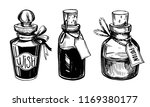 bottles with potions. poison... | Shutterstock .eps vector #1169380177