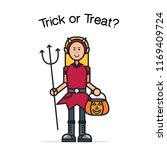 halloween card with cute... | Shutterstock .eps vector #1169409724