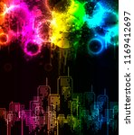 abstract grunge rainbow city | Shutterstock .eps vector #1169412697