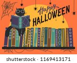 happy halloween. black cat... | Shutterstock .eps vector #1169413171