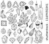 set of black and white crystals ... | Shutterstock .eps vector #1169450341