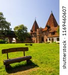 benches on the grass and... | Shutterstock . vector #1169460607