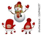 snowman and friends | Shutterstock . vector #116946157