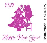 piglet decorates the christmas...   Shutterstock .eps vector #1169463097