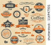 vector coffee stamps and label... | Shutterstock .eps vector #116947501
