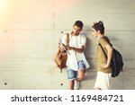 young students with books on... | Shutterstock . vector #1169484721