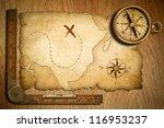 Aged Treasure Map  Ruler And...