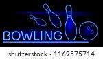 bowling. neon glow. skittles...   Shutterstock .eps vector #1169575714