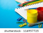 School stationery on the blue close up - stock photo