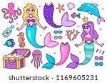 set of cartoon underwater... | Shutterstock .eps vector #1169605231