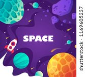children's cartoon space banner.... | Shutterstock .eps vector #1169605237