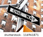 """one Way"" Sign On Pole In..."